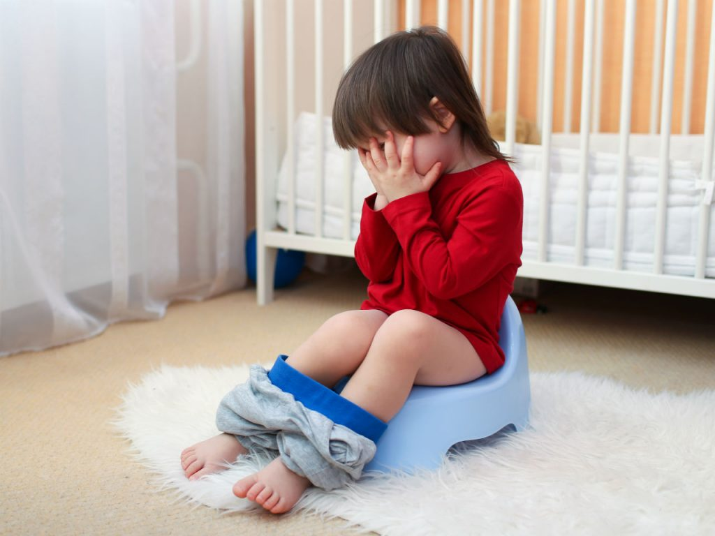 Toddler trying to poo on a potty